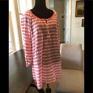 J.Crew Pink striped cotton gauze coverup tunic S